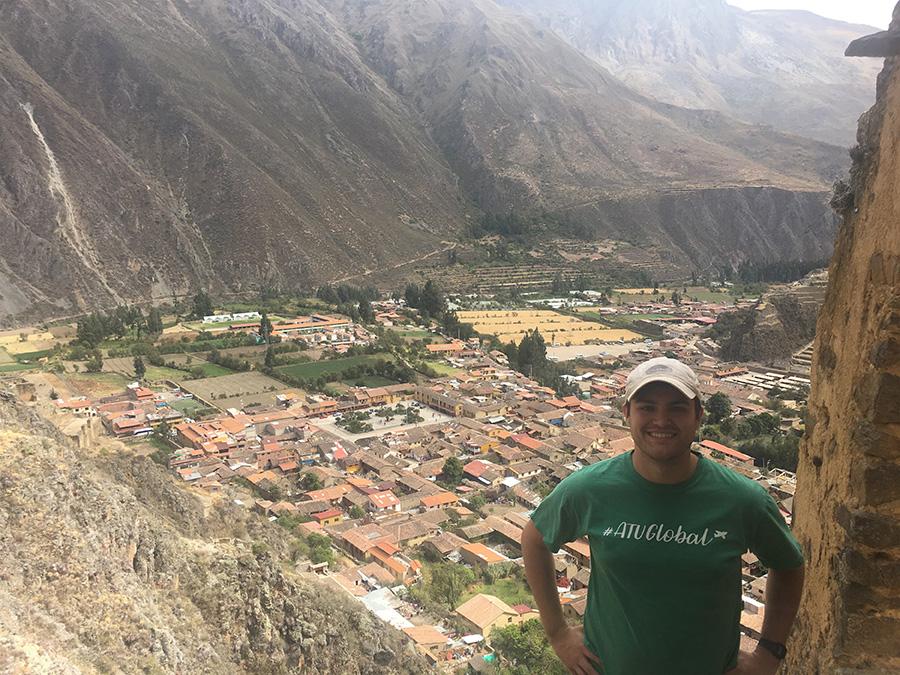 ATU student Dylan Edgell takes in a breathtaking view in Ollantatytambo, Peru