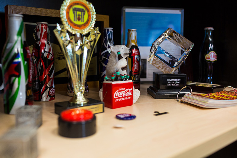 Memorabilia pertaining to Mr. Herns success is seen on display in his office