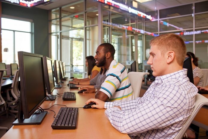 Students work in a high-tech computer lab found in Rothwell