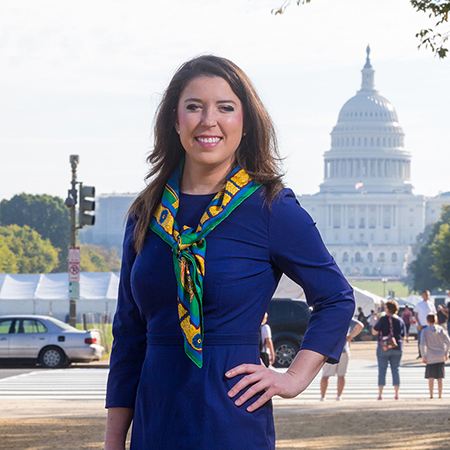 ATU alumnae Catherine Wilkins is seen standing in front of the Capital Building