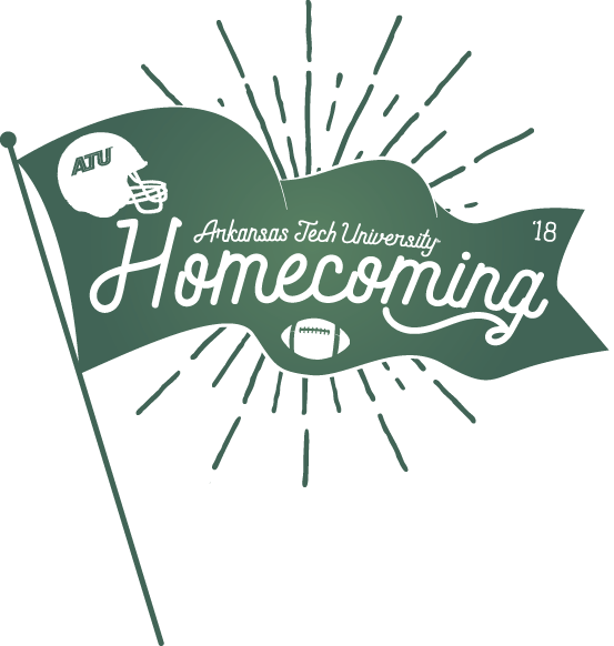 The 2018 Homecoming logo features a flag with football iconography and scripted letters