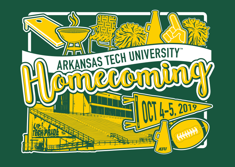 The 2019 Homecoming logo features football iconography and scripted letters