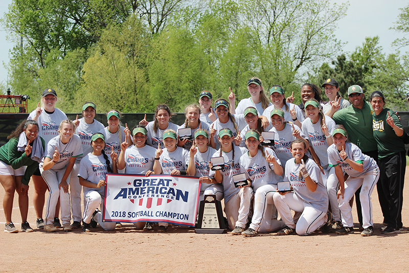 The ATU Softball team takes a team photo after winning the GAC conference