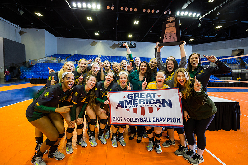 The ATU Volleyball team poses as GAC Champions