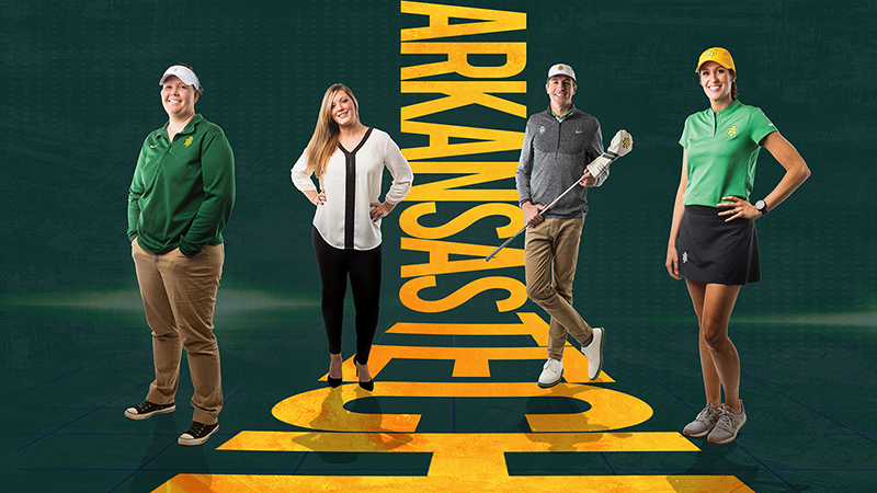 """Full body shots of coaches Abby Davis, Kera Dukic, Luke Calcatera and Amy Anderson are positioned on a space-age grid of green. The composition is centered with the blazen gold words """"Arkansas Tech"""""""