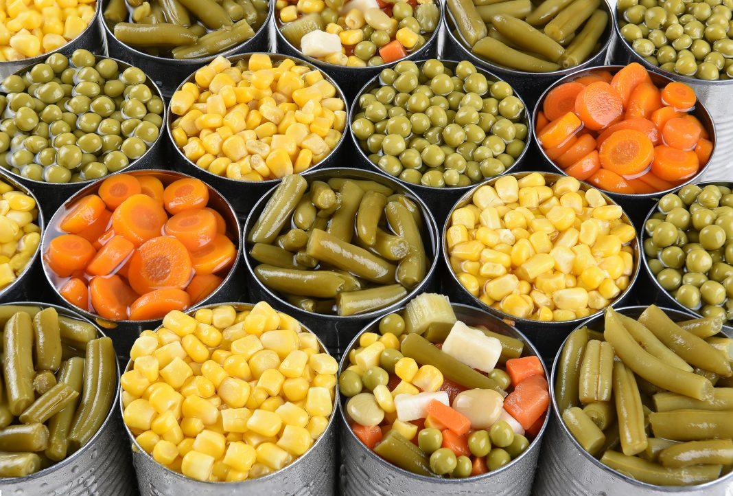vegatable cans closeup