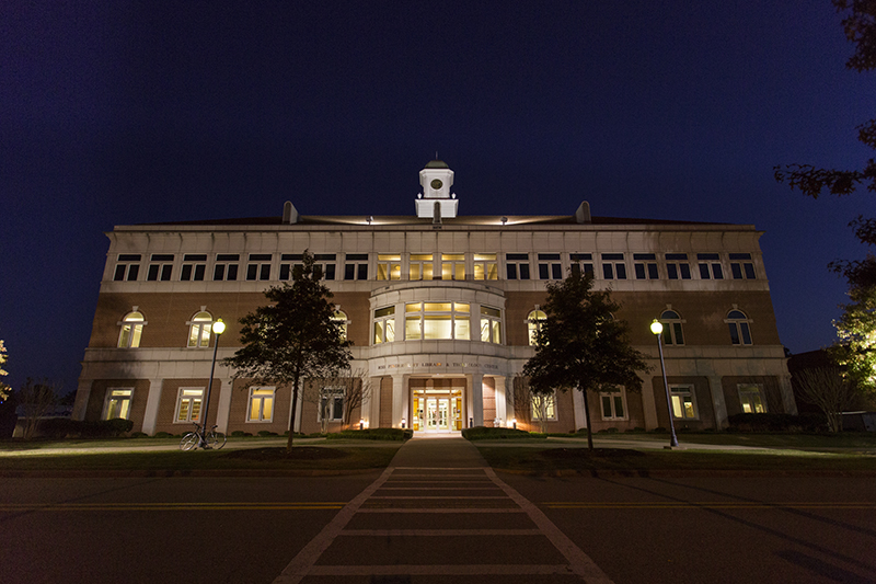 Ross Pendergraft Library and Technology Center at Night