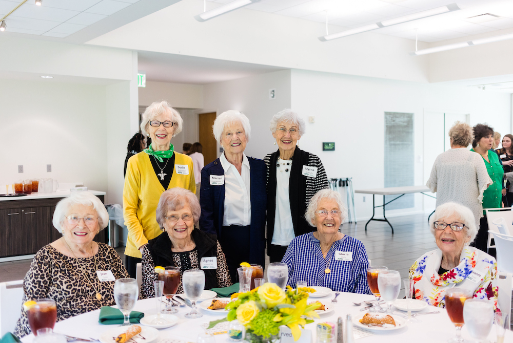 Bingo Luncheon - Seated:  Jean Oates, Agnes Alford '50, Gloria Blaty, Jeanne Turner. Standing: Dodie McSpadden, Marian Embrey Bartlett '49, Myrna McAnulty