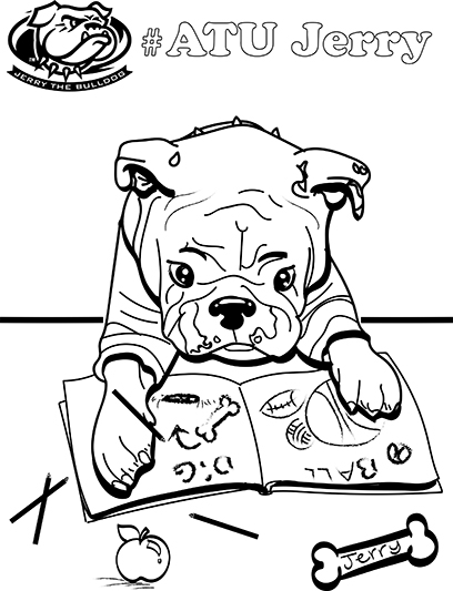 Jerry The Bulldog Coloring Pages Available For Download Arkansas Tech  University