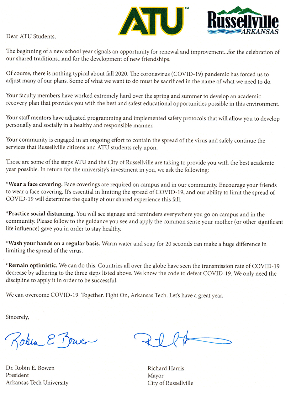 President Bowen and Mayor Harris Letter to ATU Students August 2020