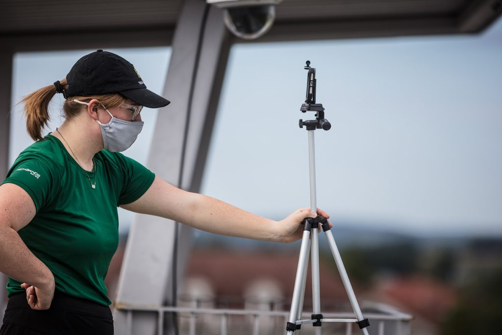 Anna Bloodworth, recording the visual drill with her iPhone.