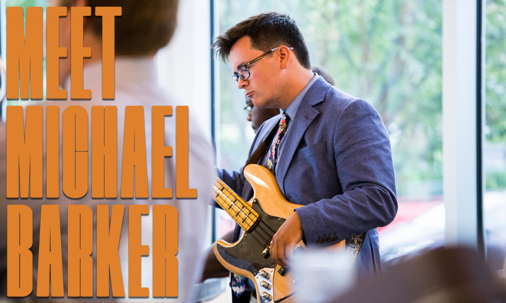 """""""Meet Michael Barker"""" graphic. Michael Barker, the subject of this story, is playing his bass guitar during the annual Jazz Brunch."""