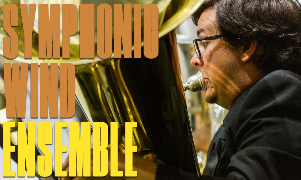 """""""Symphonic Wind Ensemble"""" graphic. Michael Barker plays euphonium during an indoor concert in 2019."""