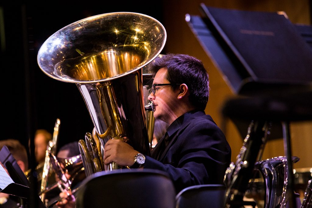 Barker, performing with Symphonic Wind Ensemble in 2019.